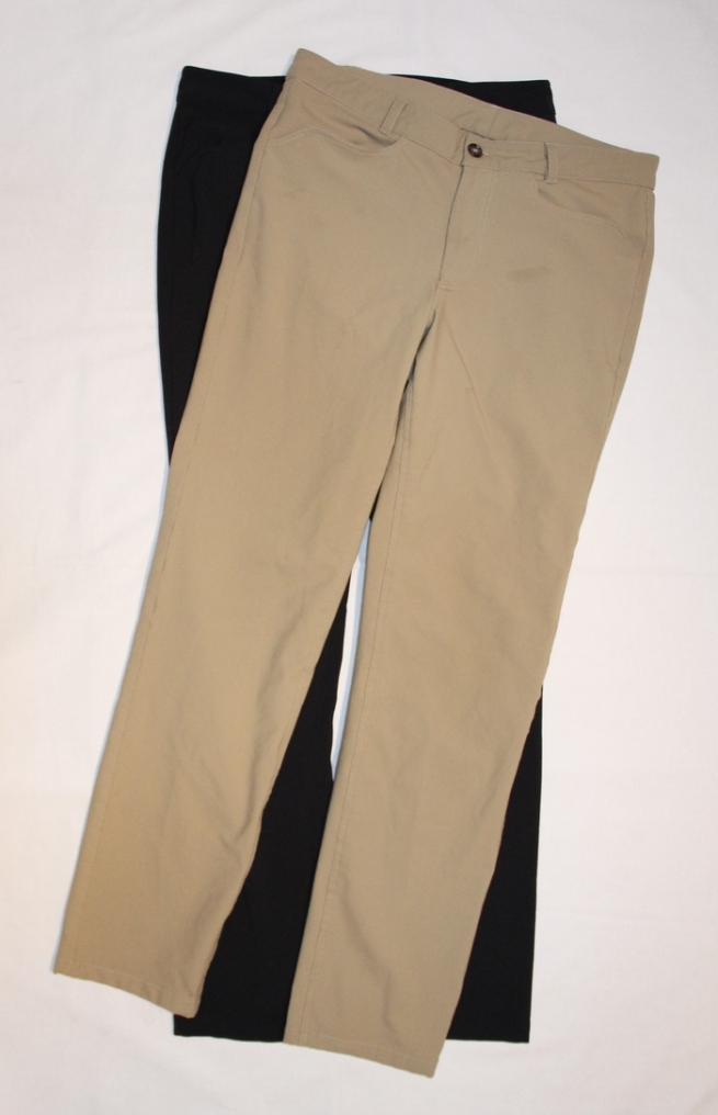 The original prototypes of Ledge pants in either tan or black.