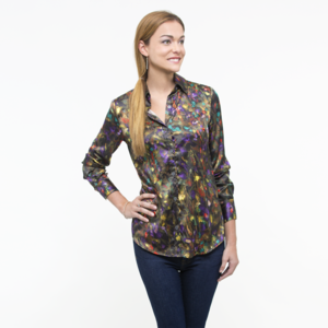 Abstract Slim Fit Silk Shirt