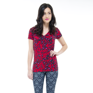 Red Leopard V Neck Tee