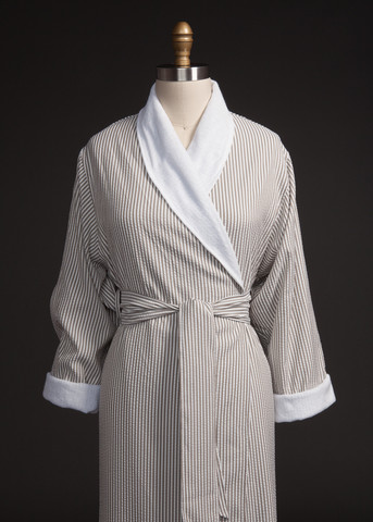 Taupe Seersucker Double Robe by Telegraph Hill