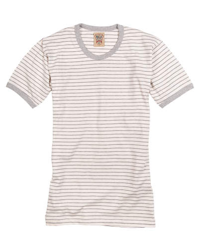 Striped Ringer Tee Creme Grey