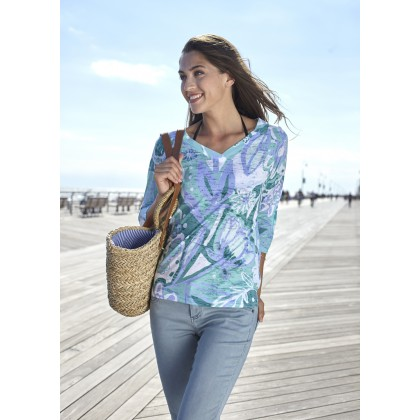 Groovy Petals Green V Neck Tunic