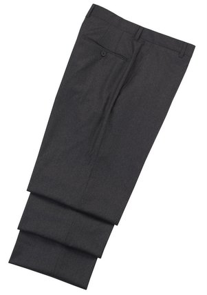 Hickey Freeman Flat Front Charcoal Trousers