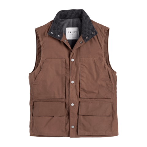 Waxed Cotton Service Vest Mineral Red
